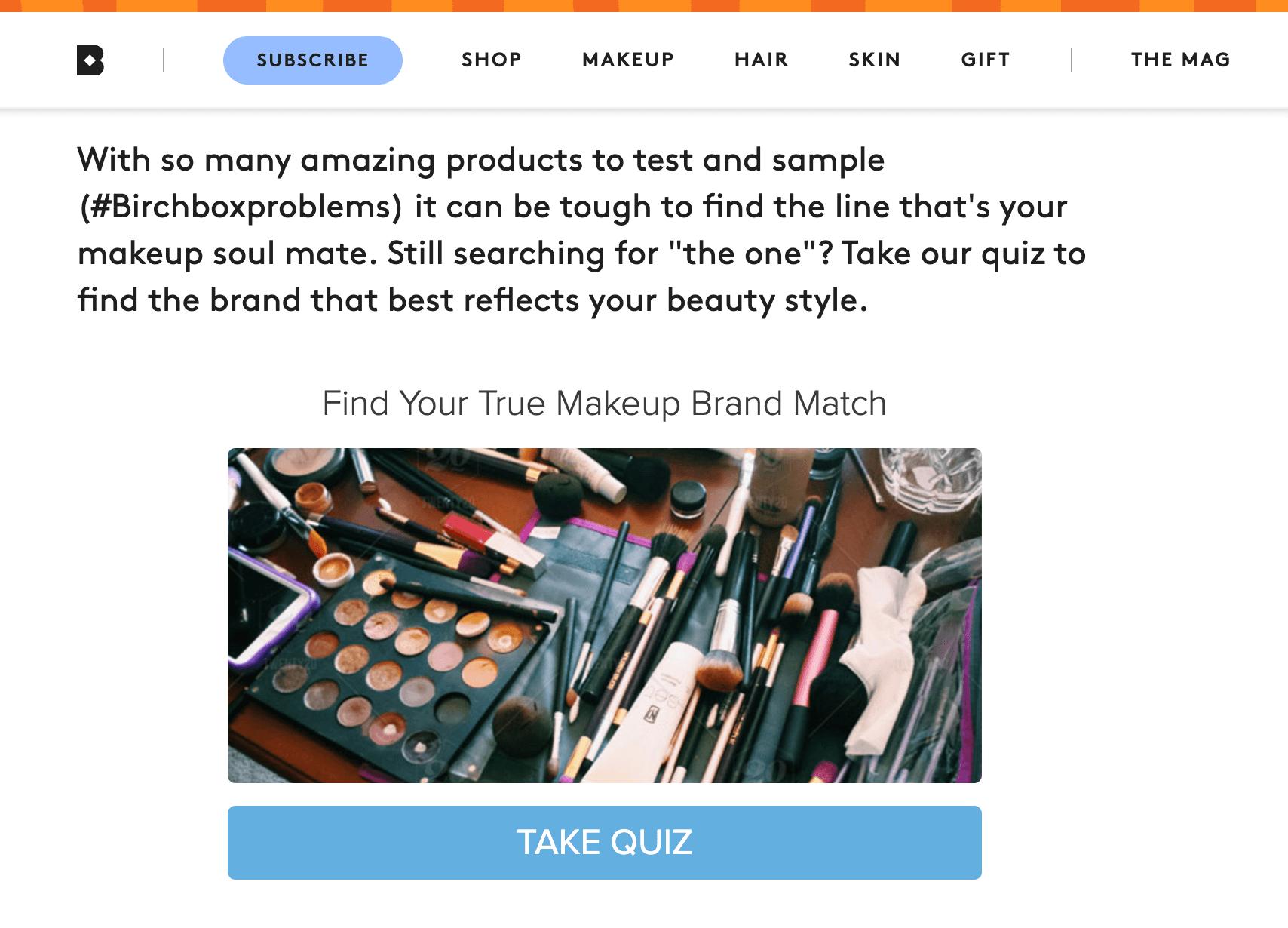 birchbox quiz example