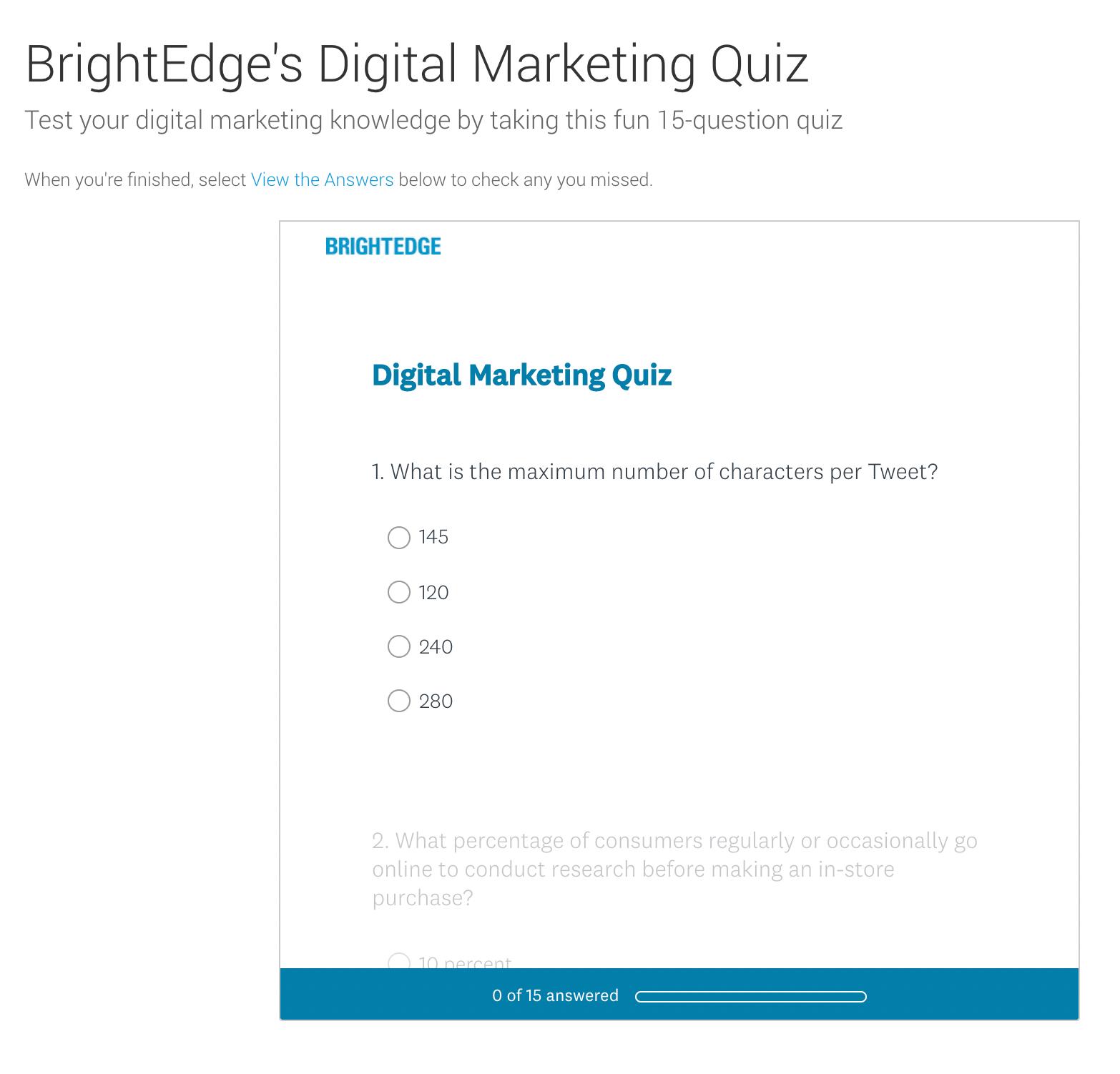 brightedge digital marketing quiz example
