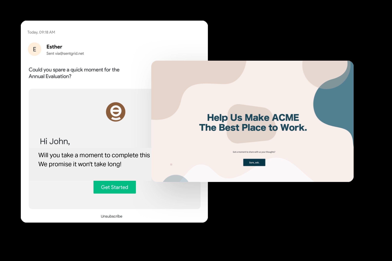 Built in email white label surveys