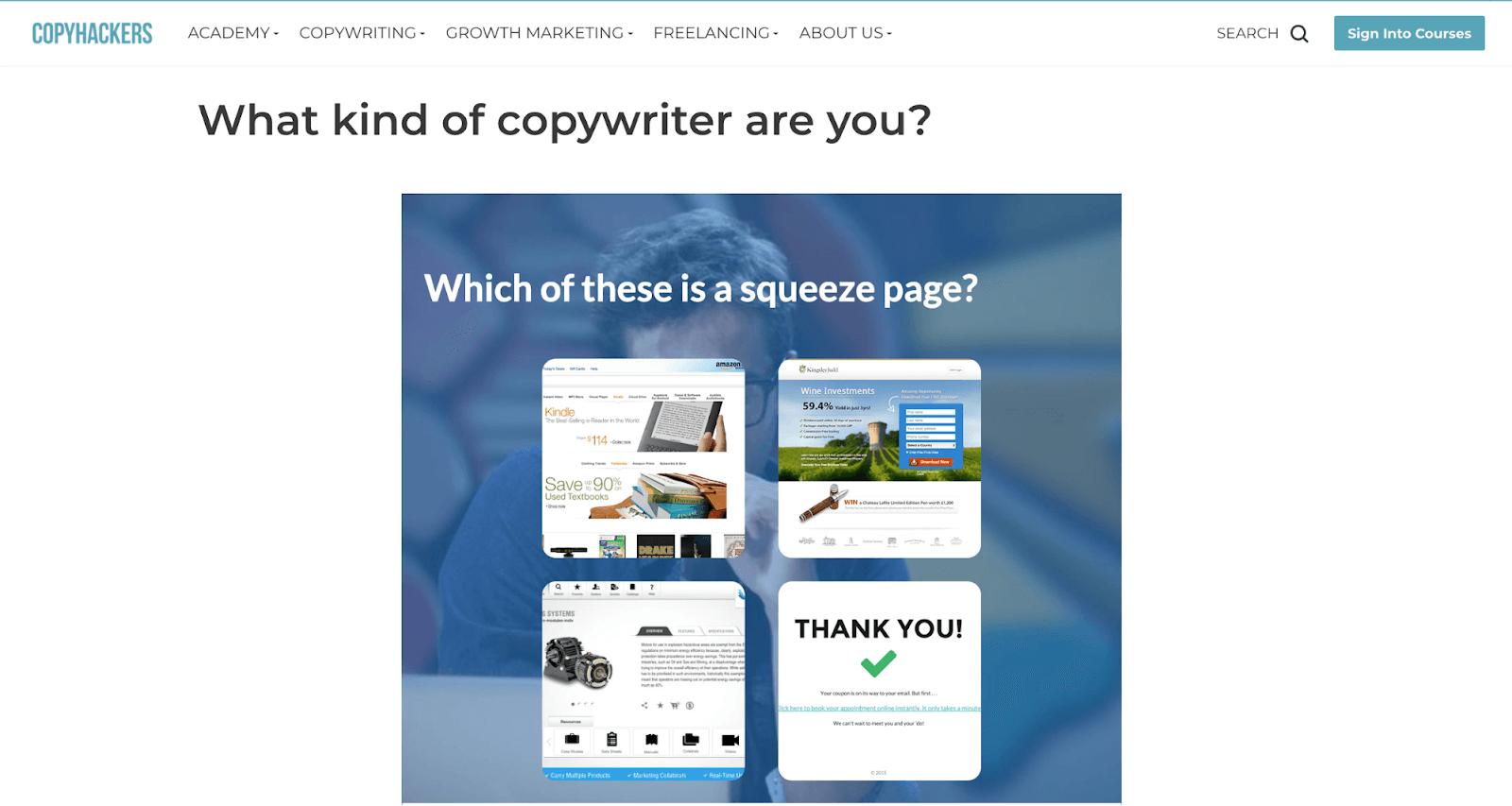copyhackers quiz example