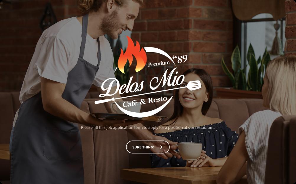 restaurant job application form template
