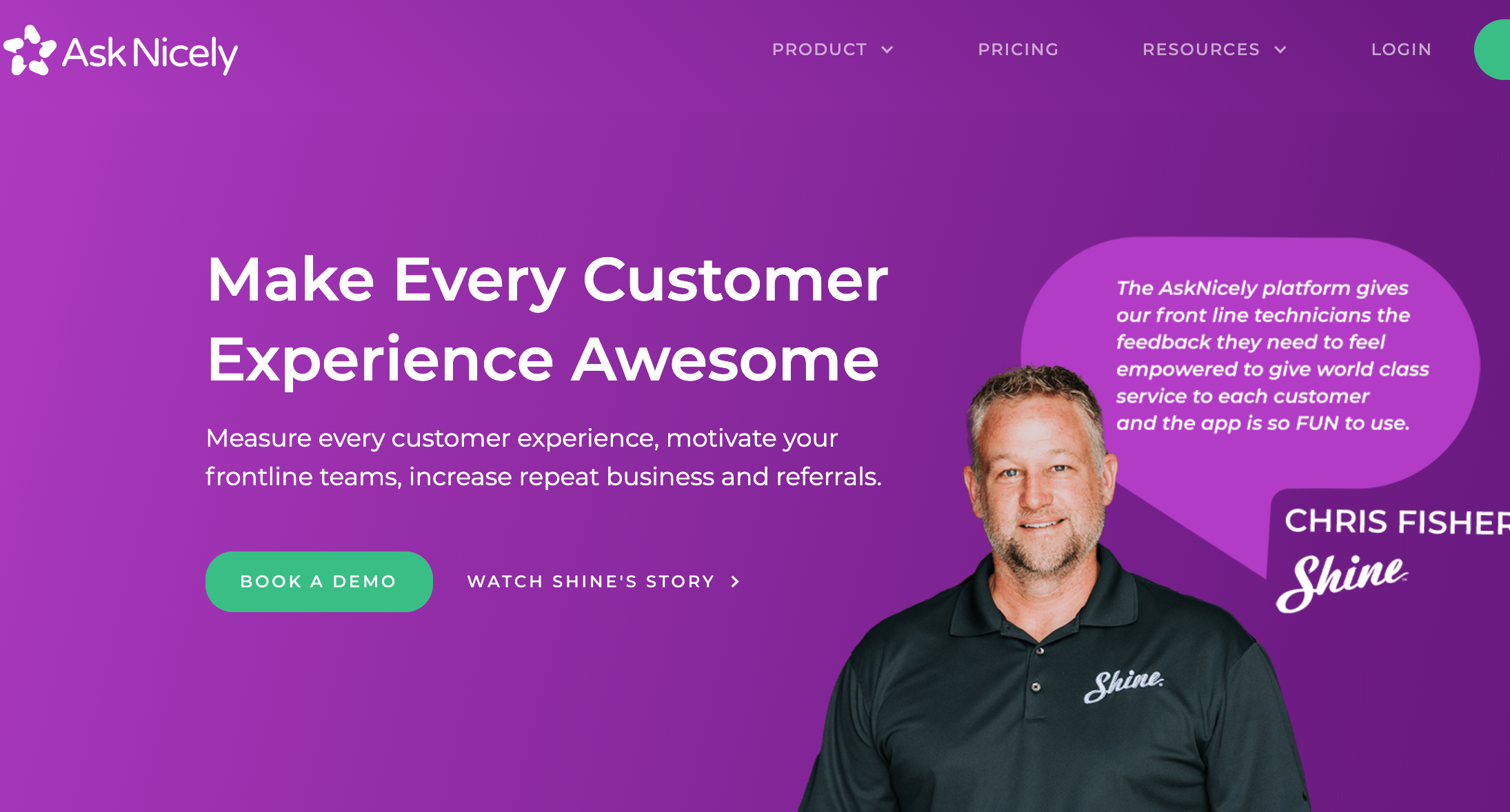AskNicely gets you real-time customer feedback that can be used to drive customer retention and referrals.