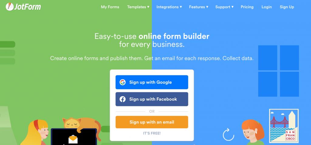 Jotform home page