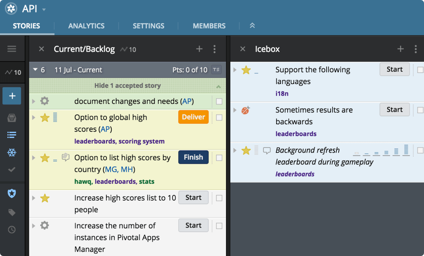 Task story mapping - Pivotal tracker