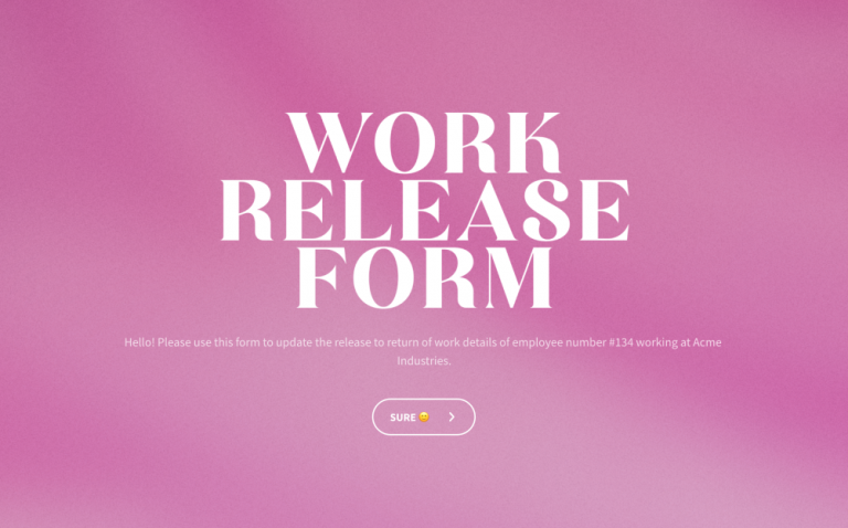work release form template